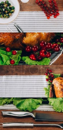 Photo pour Collage of baked turkey with redcurrant served on lettuce leaves on wooden table with striped tablecloth, Thanksgiving festive table setting - image libre de droit