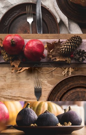 Photo pour Collage of wooden table with plates, cutlery, pomegranate, dry leaves, figs and cones, Thanksgiving festive table setting - image libre de droit