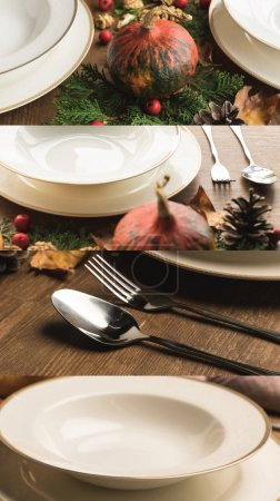 Photo pour Collage of white ceramic plates, cutlery, fir, cones among pumpkins on wooden table, Thanksgiving festive table setting - image libre de droit