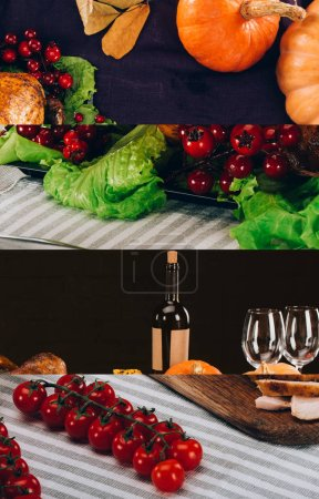 Photo pour Collage of pumpkins, tomatoes, lettuce, striped tablecloth and bottle of wine, Thanksgiving festive table setting - image libre de droit