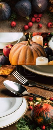 Photo pour Collage of white ceramic plates, cutlery, figs and pumpkins on wooden table, Thanksgiving festive table setting - image libre de droit