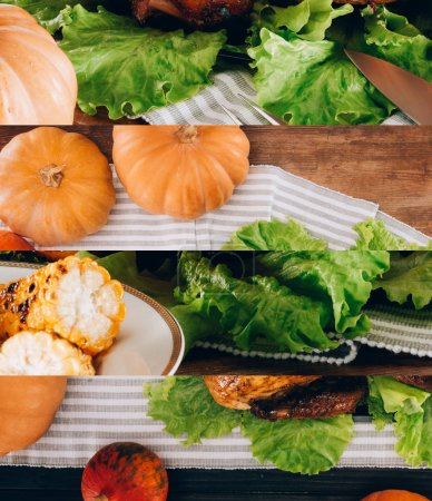 Photo pour Collage of ripe pumpkins, green lettuce, grilled corn, baked turkey on wooden table and striped tablecloth, Thanksgiving festive table setting - image libre de droit