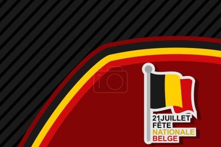 Illustration pour Traduction : 21 juillet, Fête nationale de Belgique. Happy Belgium National Day (Fte Nationale Belge) Illustration vectorielle. Convient pour carte de vœux, affiche et bannière. - image libre de droit