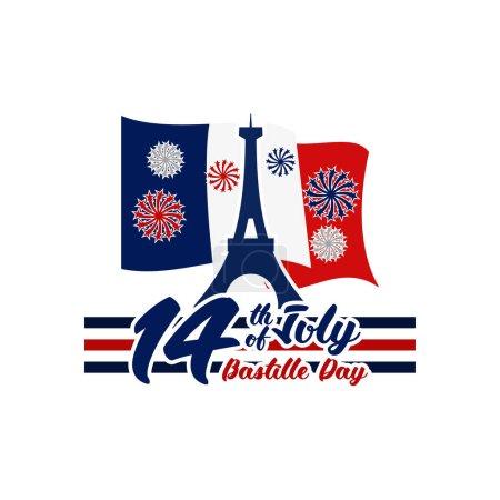 Illustration pour 14 juillet, Joyeux jour de la Bastille (Fte nationale franaise) illustration vectorielle. Convient pour carte de vœux, affiche et bannière - image libre de droit