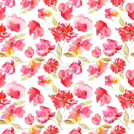 Photo for Seamless pattern with red flowers. Floral seamless background. - Royalty Free Image
