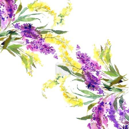 Foto de Diseño floral de la boda. Cenefa floral. Flores acuarela. Tarjeta de felicitación floral con flores de color púrpura y amarillo. - Imagen libre de derechos