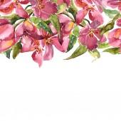 """Постер, картина, фотообои """"Розовые тюльпаны. Акварелью цветы. Цветочная открытка. Дизайн свадебного приглашения. Цветение сакуры."""""""