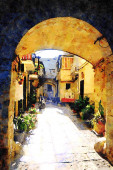 watercolorstyle representing an alley in the historic center of Bari in Puglia Italy