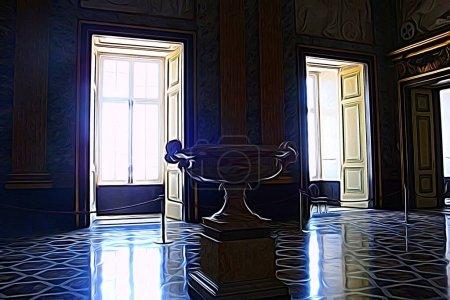 Digitale Farbmalerei, die einen Saal eines der königlichen Paläste aus dem 18. Jahrhundert rund um Neapel darstellt