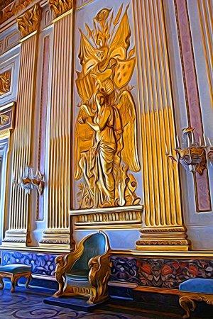 Digitale Farbmalerei, die den Thronsaal eines der königlichen Paläste aus dem achtzehnten Jahrhundert rund um Neapel darstellt