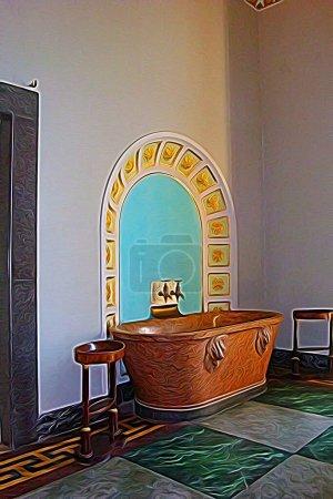 Digitale Farbmalerei, die eine Badewanne in einem der königlichen Paläste rund um Neapel aus dem 18. Jahrhundert darstellt