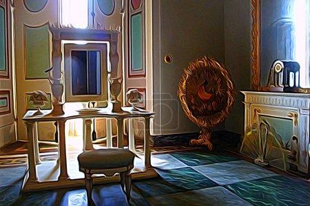 Digitale Farbmalerei, die einen Raum eines der königlichen Paläste aus dem 18. Jahrhundert rund um Neapel darstellt
