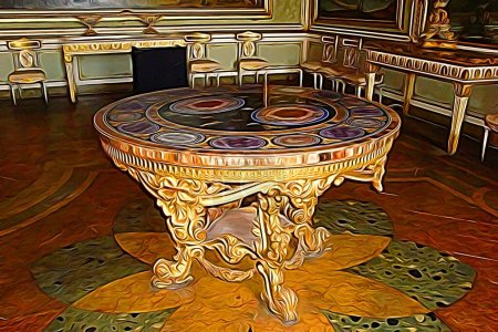 Digitale Farbmalerei, die einen Tisch in einem der königlichen Paläste des 18. Jahrhunderts rund um Neapel darstellt