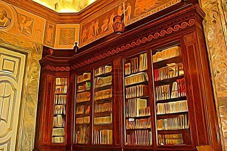 Digitale Farbmalerei, die einen Teil der Bibliothek aus dem achtzehnten Jahrhundert am Stadtrand von Neapel darstellt
