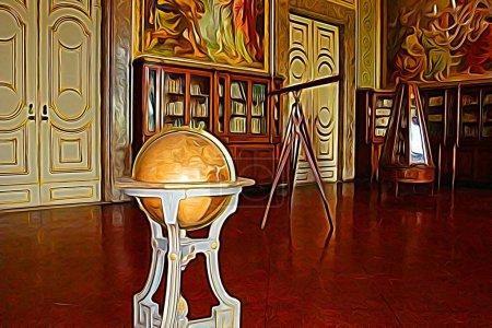 Digitale Farbmalerei, die einen Bibliotheksraum aus dem achtzehnten Jahrhundert am Stadtrand von Neapel mit Teleskop und Globus darstellt