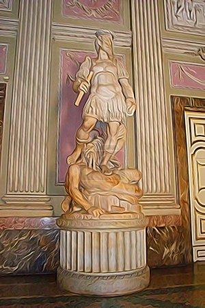 Digitale Farbmalerei Stil, der eine Statue in einem der königlichen Paläste aus dem achtzehnten Jahrhundert von Neapel