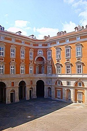 Digitale Farbmalerei Stil, der einen Blick auf einen der königlichen Paläste aus dem achtzehnten Jahrhundert von Neapel darstellt