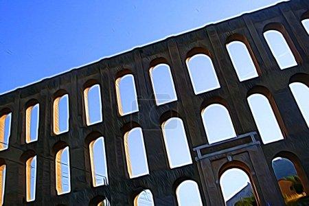 Digitale Farbmalerei Stil, der einen Blick auf das achtzehnte Jahrhundert Aquädukt am Stadtrand von Neapel darstellt