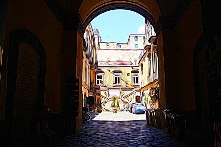 Digitale Farbmalerei Stil, der einen Blick auf ein historisches Gebäude im Zentrum von Neapel darstellt