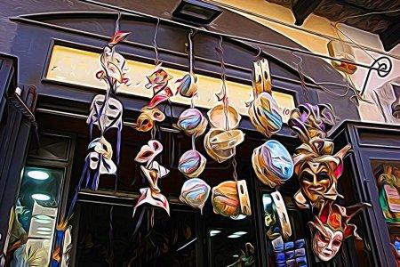 Digitale Farbmalerei Stil, der Masken und Tamburine hängen im historischen Zentrum von Neapel