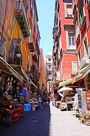 Digitale Farbmalerei Stil, der einen Blick auf eine Straße im historischen Zentrum von Neapel darstellt