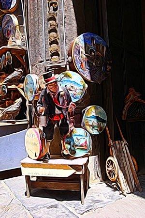 Digitaler Farbmalstil, der eine traditionelle Statuette und Tamburine im historischen Zentrum von Neapel darstellt