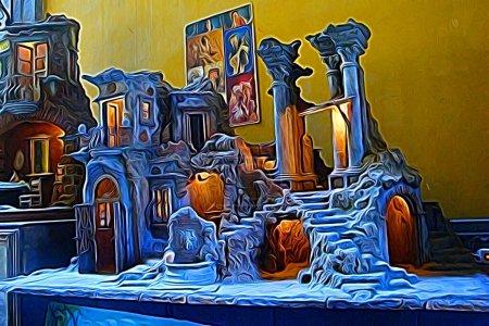 Digitale Farbmalerei im Stil einer Krippe im historischen Zentrum von Neapel