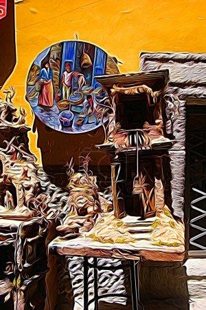 Digitale Farbmalerei Stil, der eine Krippe und Tamburine im historischen Zentrum von Neapel
