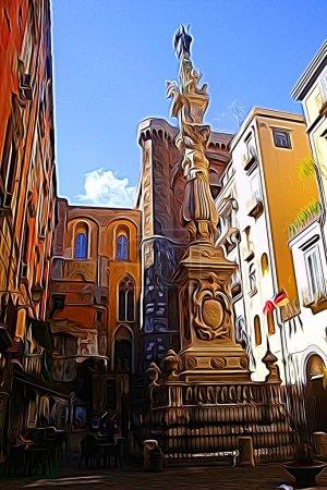 Digitale Farbmalerei Stil, der einen Blick auf einen Platz im historischen Zentrum von Neapel darstellt