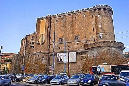 Digitale Farbmalerei Stil, der einen Blick auf eines der historischen Schlösser im Zentrum von Neapel darstellt