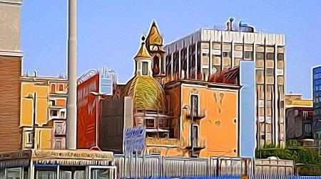 Digitale Farbmalerei Stil, der moderne Paläste und antike Kirchen im historischen Zentrum von Neapel