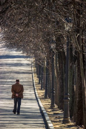 Photo for Man walking alone in the park - Royalty Free Image