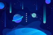 blue horizontal space background with abstract shape and planets falling asteroids Web design vector illustration
