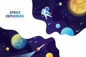 Space background Planets universe and astronaut Template for background banner landing card