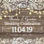 Wedding invitation card. Beautiful lace with decor...
