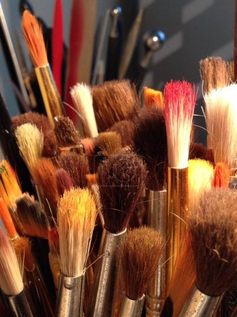 Photo for Close up artist paint brushes - Royalty Free Image