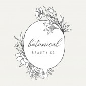Floral Botanical Logo Illustration - Botanical logo design with hand drawn illustrations and frame The elements can be separated and rearranged or used individually