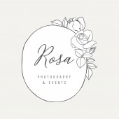 Botanical Rose Logo Illustration - Botanical logo design with hand drawn roses and frame The elements can be separated and rearranged or used individually