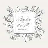 Botanical Illustration Premade logo - Botanical logo design with hand drawn illustrations and frame The elements can be separated and rearranged or used individually
