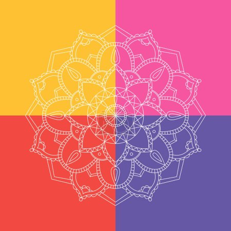 Illustration for Mandala decorative vector hand drawing pattern and geometric round ornament. - Royalty Free Image