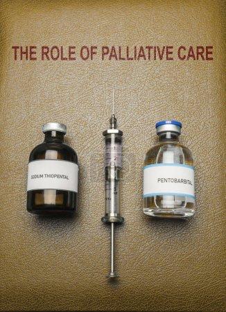 Photo pour Livre du rôle des soins palliatifs, flacons de sodium thiopental anesthésie et pentobarbital, notion sur l'euthanasie, imaginaire numérique composition - image libre de droit