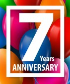 Seven years anniversary 7 year Greeting card or banner concept