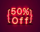 Neon frame 50 off text banner Night Sign board