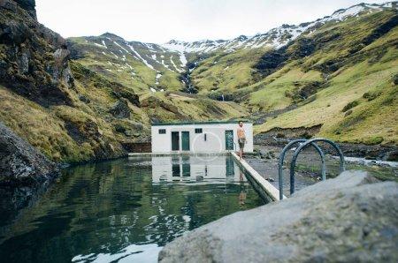 Photo for Wanderlust explorer discovering icelandic natural wonders - Royalty Free Image