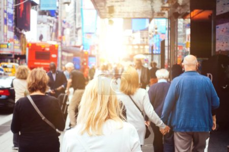 Photo for Mass of people walking  in New rork city, concept about urban life - Royalty Free Image