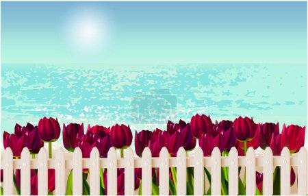 Illustration for Beach view, fence, tulips grass sky vacation - Royalty Free Image