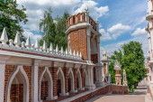 Figured, ornated bridge in the Tsaritsyno park in Moscow