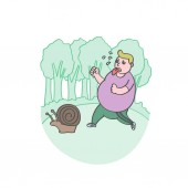 Funny fat man jogging with snailhealth care