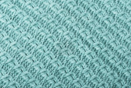 Photo for Mint knitted fabric texture closeup.  Can be used as a background. Selective focus - Royalty Free Image