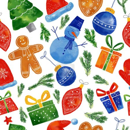 Photo for Watercolor Christmas seamless pattern of hand drawn elements gifts and tree. - Royalty Free Image